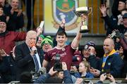 18 January 2020; Gerry McGovern President Connacht Council presents Shane Walsh of Galway presents the FBD cup after the Connacht FBD League Final between Roscommon and Galway at Dr. Hyde Park in Roscommon. Photo by Ray Ryan/Sportsfile