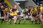 18 January 2020; Tadgh Haran of Galway in action against Aidan Nolan of Wexford during the Walsh Cup Final between Wexford and Galway at MW Hire O'Moore Park in Portlaoise, Laois. Photo by Diarmuid Greene/Sportsfile
