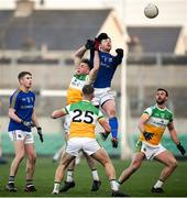 18 January 2020; Michael Quinn of Longford in action against Jordan Hayes of Offaly during the 2020 O'Byrne Cup Final between Offaly and Longford at Bord na Mona O'Connor Park in Tullamore, Offaly. Photo by David Fitzgerald/Sportsfile