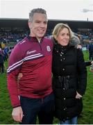 18 January 2020; Galway manager Padraic Joyce celebrates after the Connacht FBD League Final between Roscommon and Galway at Dr. Hyde Park in Roscommon. Photo by Ray Ryan/Sportsfile