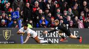18 January 2020; Robert Baloucoune of Ulster goes over for his sides second try before being tackled by Ollie Fox of Bath during the Heineken Champions Cup Pool 3 Round 6 match between Ulster and Bath at Kingspan Stadium in Belfast. Photo by Oliver McVeigh/Sportsfile