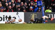 18 January 2020; Robert Baloucoune of Ulster scores his side's second try despite the efforts of Ollie Fox of Bath during the Heineken Champions Cup Pool 3 Round 6 match between Ulster and Bath at Kingspan Stadium in Belfast. Photo by Oliver McVeigh/Sportsfile