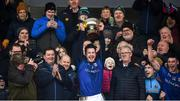 18 January 2020; Longford captain Michael Quinn lifts the cup following the 2020 O'Byrne Cup Final between Offaly and Longford at Bord na Mona O'Connor Park in Tullamore, Offaly. Photo by David Fitzgerald/Sportsfile
