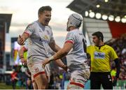 18 January 2020; Will Addison of Ulster, right, celebrates with Jacob Stockdale after going over for his side's third try during the Heineken Champions Cup Pool 3 Round 6 match between Ulster and Bath at Kingspan Stadium in Belfast. Photo by Oliver McVeigh/Sportsfile