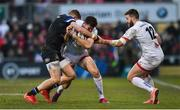 18 January 2020; Jacob Stockdale of Ulster, supported by team-mate Stuart McCloskey, is tackled by Ruaridh McConnochie of Bath during the Heineken Champions Cup Pool 3 Round 6 match between Ulster and Bath at Kingspan Stadium in Belfast. Photo by Oliver McVeigh/Sportsfile
