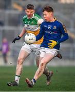 18 January 2020; Oran Kenny of Longford in action against David Dempsey of Offaly during the 2020 O'Byrne Cup Final between Offaly and Longford at Bord na Mona O'Connor Park in Tullamore, Offaly. Photo by David Fitzgerald/Sportsfile
