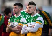18 January 2020; Cian Farrell, right, and Ruairi McNamee of Offaly following the 2020 O'Byrne Cup Final between Offaly and Longford at Bord na Mona O'Connor Park in Tullamore, Offaly. Photo by David Fitzgerald/Sportsfile