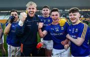 18 January 2020; Longford players, including Paddy Collum, Andrew Farrell and Joseph Hagan celebrate following the 2020 O'Byrne Cup Final between Offaly and Longford at Bord na Mona O'Connor Park in Tullamore, Offaly. Photo by David Fitzgerald/Sportsfile