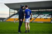 18 January 2020; Daniel Mimnagh of Longford receives instructions from his manager Padraic Davis during the 2020 O'Byrne Cup Final between Offaly and Longford at Bord na Mona O'Connor Park in Tullamore, Offaly. Photo by David Fitzgerald/Sportsfile