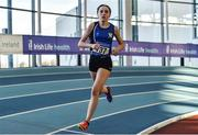 18 January 2020; Niamh Brady of St. Peter's A.C., Co. Louth, competing in the 800m event in the U16 Women's combined events during the Irish Life Health Indoor Combined Events All Ages at Athlone International Arena, AIT in Athlone, Co. Westmeath. Photo by Sam Barnes/Sportsfile