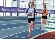 18 January 2020; Megan Seaton of Lusk A.C., Co. Dublin, left, and Ellen O Dwyer of Nenagh Olympic A.C., Co. Tipperary, competing in the 800m event in the U16 Women's combined events  during the Irish Life Health Indoor Combined Events All Ages at Athlone International Arena, AIT in Athlone, Co. Westmeath. Photo by Sam Barnes/Sportsfile