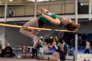 18 January 2020; Elizabeth Morland of Cushinstown A.C., Co. Meath, competing in the High Jump event in the Senior Women's combined events  during the Irish Life Health Indoor Combined Events All Ages at Athlone International Arena, AIT in Athlone, Co. Westmeath. Photo by Sam Barnes/Sportsfile