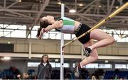 18 January 2020; Ellie Cronin of Craughwell A.C., Co. Galway, competing in the High Jump event in the Youth Women's combined events during the Irish Life Health Indoor Combined Events All Ages at Athlone International Arena, AIT in Athlone, Co. Westmeath. Photo by Sam Barnes/Sportsfile