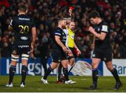 18 January 2020; Referee Alexandre Ruiz shows Ross Batty of Bath, centre, a red card in the second half during the Heineken Champions Cup Pool 3 Round 6 match between Ulster and Bath at Kingspan Stadium in Belfast. Photo by Oliver McVeigh/Sportsfile