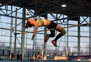 18 January 2020; Katie Walsh of Carraig-Na-Bhfear A.C., Co. Cork, competing in the High Jump event in the Senior Women's combined events  during the Irish Life Health Indoor Combined Events All Ages at Athlone International Arena, AIT in Athlone, Co. Westmeath. Photo by Sam Barnes/Sportsfile