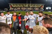 18 January 2020; Ulster captain Iain Henderson, centre, speaks to the players after the Heineken Champions Cup Pool 3 Round 6 match between Ulster and Bath at Kingspan Stadium in Belfast. Photo by Oliver McVeigh/Sportsfile