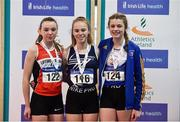 18 January 2020; U15 Women's combined events medallists, from left, Ashleigh Mcardle of Lifford Strabane A.C., Co. Donegal, silver, Hannah Falvey of Belgooly A.C., Co. Cork, gold, and Cara O'Sullivan of Ratoath A.C., Co. Meath, bronze,  during the Irish Life Health Indoor Combined Events All Ages at Athlone International Arena, AIT in Athlone, Co. Westmeath. Photo by Sam Barnes/Sportsfile