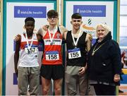 18 January 2020; Athletics Ireland president Georgina Drumm, right, with the U16 Men's combined events medallists, from left, Mathieu Madden of Galway City Harriers A.C., Co. Galway, silver, Finn O Neill of Lifford Strabane A.C., Co. Donegal, gold, and Karlis Kaugars of Dunleer A.C., Co. Louth, bronze,  during the Irish Life Health Indoor Combined Events All Ages at Athlone International Arena, AIT in Athlone, Co. Westmeath. Photo by Sam Barnes/Sportsfile