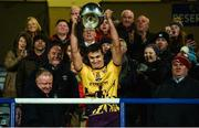 18 January 2020; Jack O'Connor of Wexford lifts the Walsh Cup after the Walsh Cup Final between Wexford and Galway at MW Hire O'Moore Park in Portlaoise, Laois. Photo by Diarmuid Greene/Sportsfile