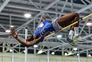 18 January 2020;  Nelvin Appiah of Longford A.C., Co. Longford, competing in the High Jump in the Junior Men's combined events during the Irish Life Health Indoor Combined Events All Ages at Athlone International Arena, AIT in Athlone, Co. Westmeath. Photo by Sam Barnes/Sportsfile