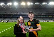 18 January 2020; Claire Liston of AIB presents James Bergin of Conahy Shamrocks with his AIB Man of the Match Award after the AIB GAA Hurling All-Ireland Junior Club Championship Final between Russell Rovers and Conahy Shamrocks at Croke Park in Dublin. Photo by Piaras Ó Mídheach/Sportsfile