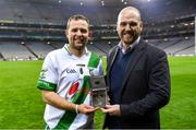 18 January 2020; Michael Greene of AIB presents Pádraig Walsh of Tullaroan with his AIB Man of the Match award after the AIB GAA Hurling All-Ireland Intermediate Club Championship Final between Fr. O'Neill's and Tullaroan at Croke Park in Dublin. Photo by Piaras Ó Mídheach/Sportsfile