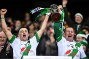 18 January 2020; Tullaroan captain Shane Walsh, left, lifts the cup alongside team-mate Joe Norton after the AIB GAA Hurling All-Ireland Intermediate Club Championship Final between Fr. O'Neill's and Tullaroan at Croke Park in Dublin. Photo by Piaras Ó Mídheach/Sportsfile