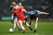 18 January 2020; Hugh Pat McGeary of Tyrone in action against Conor McCarthy of Monaghan during the Bank of Ireland Dr McKenna Cup Final between Monaghan and Tyrone at Athletic Grounds in Armagh. Photo by Oliver McVeigh/Sportsfile