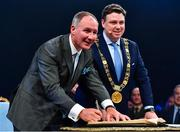 18 January 2020; Former Dublin GAA football team manager Jim Gavin, left, with Lord Mayor of Dublin Paul McAuliffe, at the Conferring of the Honorary Freedom of Dublin City on Jim Gavin ceremony in the Round Room at the Mansion House, in Dawson St, Dublin. Photo by Ray McManus/Sportsfile