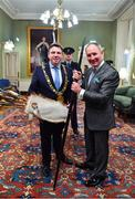 18 January 2020; Former Dublin GAA football team manager Jim Gavin with Lord Mayor of Dublin Paul McAuliffe, at the Conferring of the Honorary Freedom of Dublin City on Jim Gavin ceremony in the Round Room at the Mansion House, in Dawson St, Dublin. Photo by Brendan Moran/Sportsfile