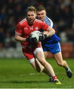 18 January 2020; Frank Burns of Tyrone in action against Conor McCarthy of Monaghan during the Bank of Ireland Dr McKenna Cup Final between Monaghan and Tyrone at Athletic Grounds in Armagh. Photo by Oliver McVeigh/Sportsfile