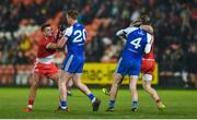 18 January 2020; Darren McCurry of Tyrone tangles with Kieran Duffy of Monaghan, off the ball, and Frank Burns of Tyrone tangles with Conor Boyle of Monaghan, off the ball, during the Bank of Ireland Dr McKenna Cup Final between Monaghan and Tyrone at Athletic Grounds in Armagh. Photo by Oliver McVeigh/Sportsfile