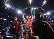 18 January 2020; Conor McGregor celebrates following his UFC 246 Welterweight bout with Donald Cerrone at the T-Mobile Arena in Las Vegas, Nevada, USA. Photo by Mark J. Rebilas / USA TODAY Sports via Sportsfile