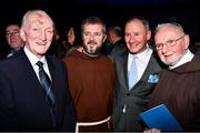 18 January 2020; Former Dublin GAA football team manager Jim Gavin with former Dublin star Jimmy Gray, left, Br. Kevin Crowley, right, and Br. Sean Donohoe of the Capuchin Day Centre at the Conferring of the Honorary Freedom of Dublin City on Jim Gavin ceremony in the Round Room at the Mansion House, in Dawson St, Dublin. Photo by Ray McManus/Sportsfile
