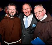 18 January 2020; Former Dublin GAA football team manager Jim Gavin with Br. Kevin Crowley, right, and Br. Sean Donohoe of the Capuchin Day Centre at the Conferring of the Honorary Freedom of Dublin City on Jim Gavin ceremony in the Round Room at the Mansion House, in Dawson St, Dublin. Photo by Ray McManus/Sportsfile