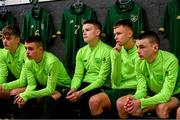 20 January 2020; Republic of Ireland players, from left, Cathal Heffernan, Adam Murphy, Conor Walsh, Joe O'Brien Whitmarsh and Liam Murray during a briefing prior to the International Friendly match between Republic of Ireland U15 and Australia U17 at FAI National Training Centre in Abbotstown, Dublin. Photo by Seb Daly/Sportsfile