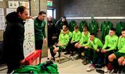 20 January 2020; Republic of Ireland coach William Doyle, left, and goalkeeping coach Richie Fitzgibbon brief players prior to the International Friendly match between Republic of Ireland U15 and Australia U17 at FAI National Training Centre in Abbotstown, Dublin. Photo by Seb Daly/Sportsfile
