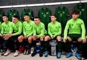 20 January 2020; Republic of Ireland players, from left, Adam Murphy, Conor Walsh, Joe O'Brien Whitmarsh, Liam Murray, Pearse O'Brien and Kevin Zefi during a briefing prior to the International Friendly match between Republic of Ireland U15 and Australia U17 at FAI National Training Centre in Abbotstown, Dublin. Photo by Seb Daly/Sportsfile
