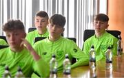 20 January 2020; Alex Nolan of Republic of Ireland, right, during a squad meeting prior to the International Friendly match between Republic of Ireland U15 and Australia U17 at FAI National Training Centre in Abbotstown, Dublin. Photo by Seb Daly/Sportsfile