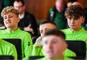 20 January 2020; Sam Curtis, left, and Kevin Zefi of Republic of Ireland during a squad meeting prior to the International Friendly match between Republic of Ireland U15 and Australia U17 at FAI National Training Centre in Abbotstown, Dublin. Photo by Seb Daly/Sportsfile