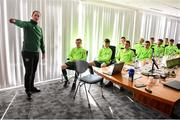 20 January 2020; Republic of Ireland coach William Doyle briefs players during a squad meeting prior to the International Friendly match between Republic of Ireland U15 and Australia U17 at FAI National Training Centre in Abbotstown, Dublin. Photo by Seb Daly/Sportsfile
