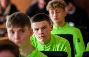 20 January 2020; Conor Walsh of Republic of Ireland during a squad meeting prior to the International Friendly match between Republic of Ireland U15 and Australia U17 at FAI National Training Centre in Abbotstown, Dublin. Photo by Seb Daly/Sportsfile