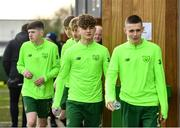 20 January 2020; Kevin Zefi of Republic of Ireland, centre, makes his way to a squad meeting prior to the International Friendly match between Republic of Ireland U15 and Australia U17 at FAI National Training Centre in Abbotstown, Dublin. Photo by Seb Daly/Sportsfile