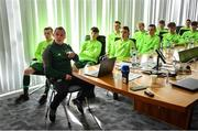 20 January 2020; Republic of Ireland manager Jason Donohue briefs players during a squad meeting prior to the International Friendly match between Republic of Ireland U15 and Australia U17 at FAI National Training Centre in Abbotstown, Dublin. Photo by Seb Daly/Sportsfile