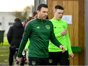 20 January 2020; Republic of Ireland goalkeeping coach Richie Fitzgibbon, left, and Conor Walsh make their way to a squad meeting prior to the International Friendly match between Republic of Ireland U15 and Australia U17 at FAI National Training Centre in Abbotstown, Dublin. Photo by Seb Daly/Sportsfile