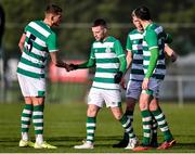 18 January 2020; Jack Byrne of Shamrock Rovers is congratulated by team-mates, from left, Lee Grace, Rhys Marshall and Joey O'Brien, after scoring his side's first goal during the Pre-Season Friendly between Shamrock Rovers and Bray Wanderers at Roadstone Group Sports Club in Dublin. Photo by Ben McShane/Sportsfile