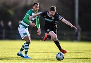 18 January 2020; Killian Cantrell of Bray Wanderers in action against Graham Burke of Shamrock Rovers during the Pre-Season Friendly between Shamrock Rovers and Bray Wanderers at Roadstone Group Sports Club in Dublin. Photo by Ben McShane/Sportsfile