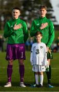 18 January 2020; Conor Walsh, left, and Cathal Heffernan of Republic of Ireland during the national anthem prior to the International Friendly match between Republic of Ireland U15 and Australia U17 at FAI National Training Centre in Abbotstown, Dublin. Photo by Seb Daly/Sportsfile