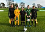 18 January 2020; Referee Daryl Carolan, centre, with captains Cathal Heffernan of Republic of Ireland and Aidan Croucher of Australia and assistant officials Fintan Butler, left, and Conor Harkin prior to the International Friendly match between Republic of Ireland U15 and Australia U17 at FAI National Training Centre in Abbotstown, Dublin. Photo by Seb Daly/Sportsfile