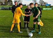 18 January 2020; Captains Cathal Heffernan of Republic of Ireland and Aidan Croucher of Australia shake hands prior to the International Friendly match between Republic of Ireland U15 and Australia U17 at FAI National Training Centre in Abbotstown, Dublin. Photo by Seb Daly/Sportsfile